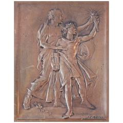 """Algernon Sullivan Plaque,"" Rare Bas Relief with Nude Figures by Jules Roine"
