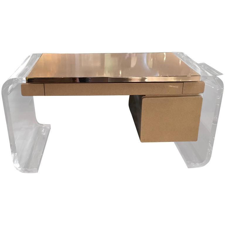 Lion in frost laminate polished chrome and lucite desk at for Perspex desk