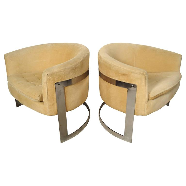 Attractive Jules Heumann Round Back Club Chairs 1