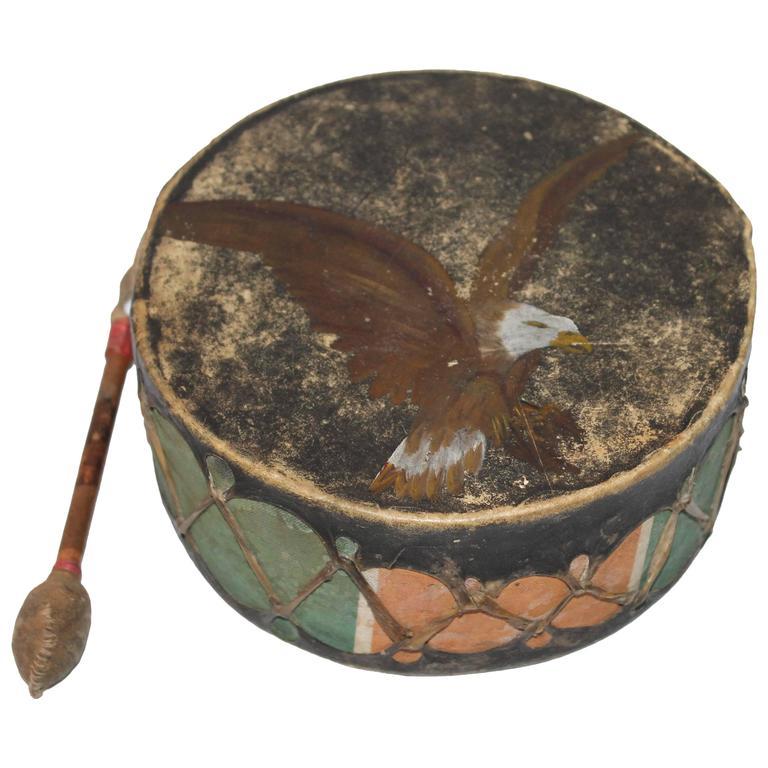 19th Century Pueblo Original Paint Decorated Drum