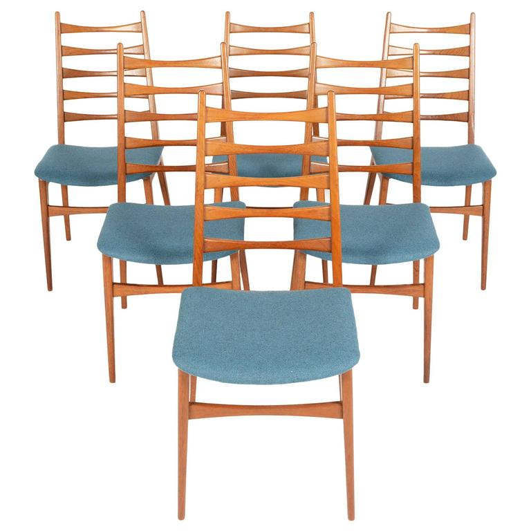 Set of six teak kofoed style ladder back dining chairs at 1stdibs - Ladder back dining room chairs ...