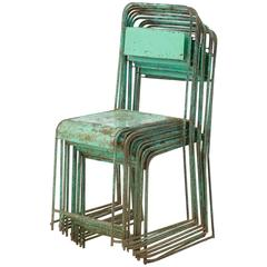 Set of Ten Stackable Metal 1950s Painted Chairs