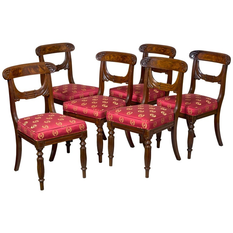 Important Rare Set of Six Neoclassical Side Chairs, Boston, circa 1815 For Sale