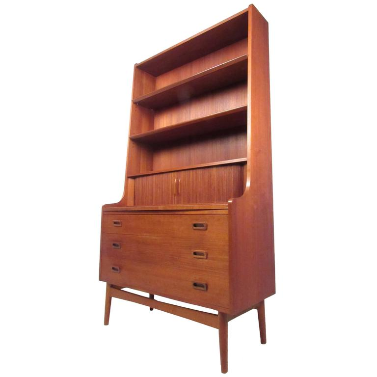 Vintage Modern Teak Bookshelf Secretary After Brge Mogensen For Sale