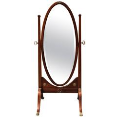 19th Century Antique Mahogany Cheval Mirror