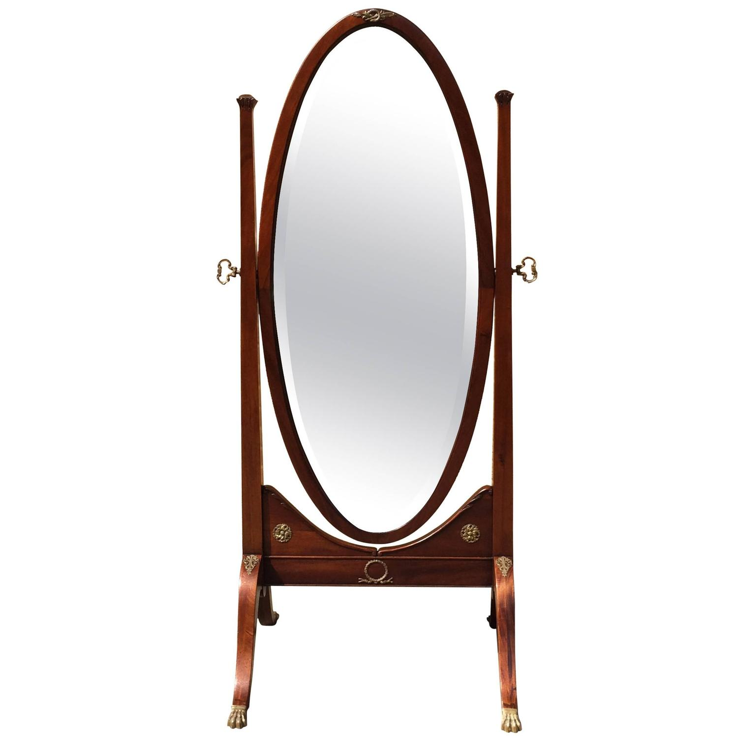 Mahogany cheval floor mirror