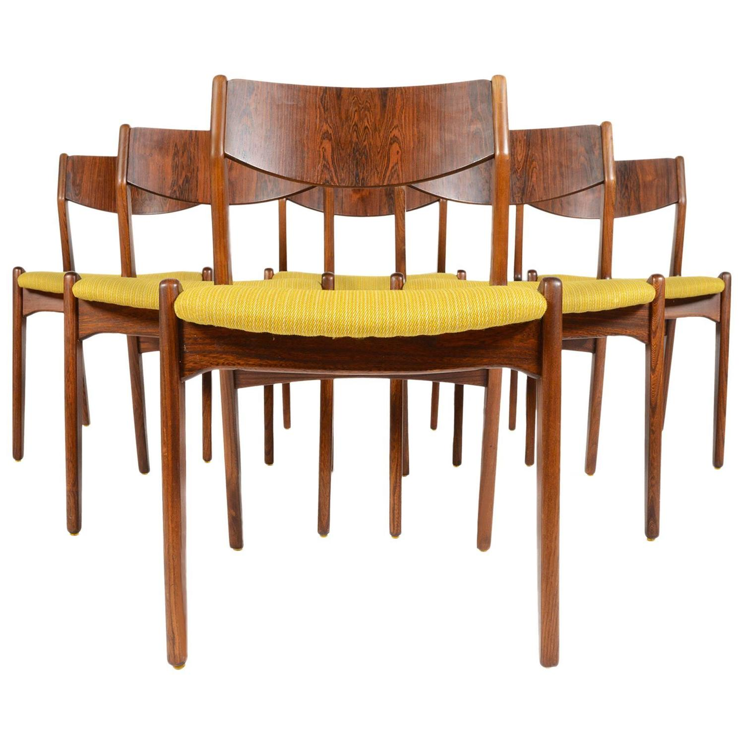 Set Of Six S Ro Stolefabrik Rosewood Dining Chairs At 1stdibs