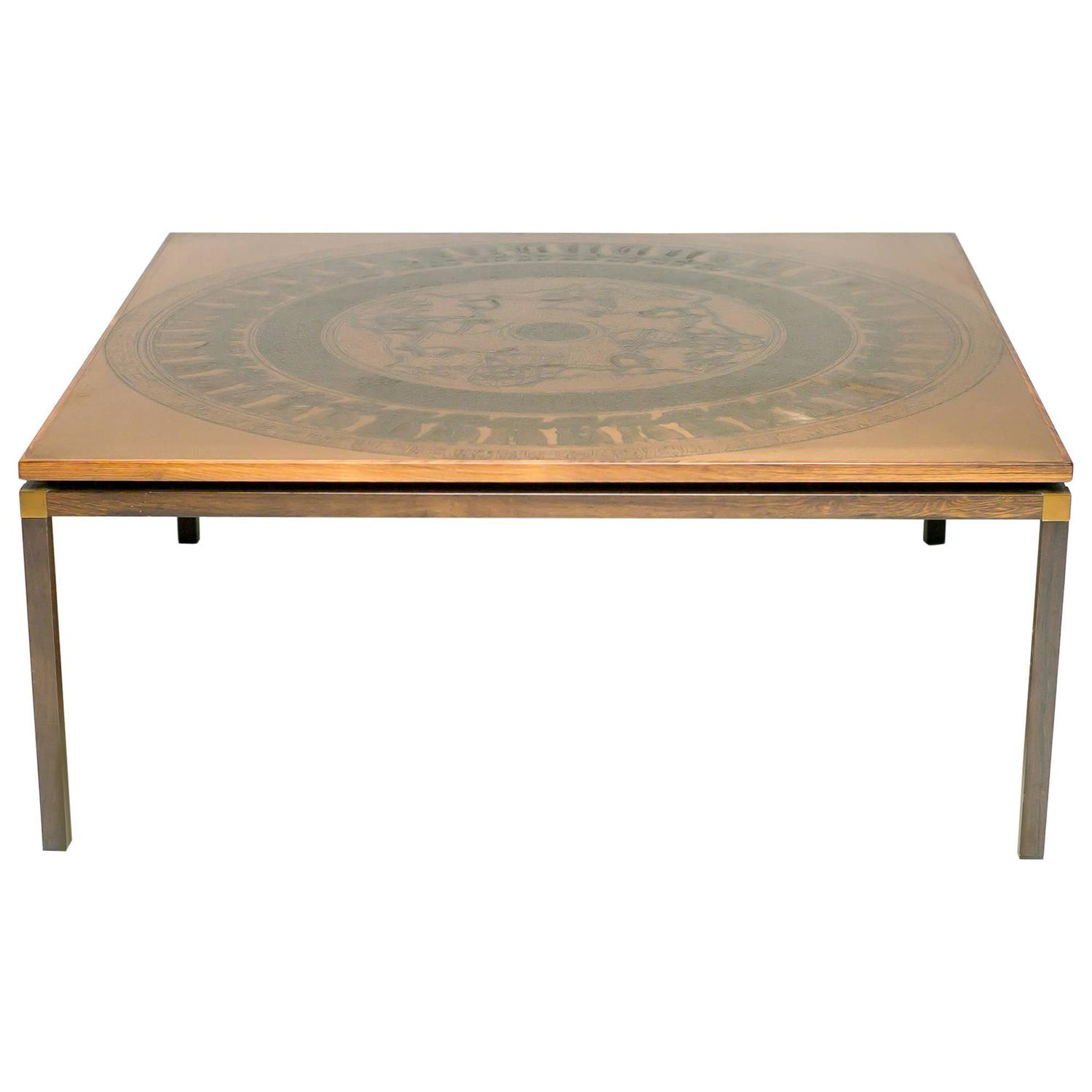 Rosewood And Copper Coffee Table Denmark Circa 1970 For Sale At 1stdibs