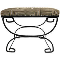 Greek Key Black Wrought Iron Bench