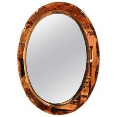 Amber Colored Italian 1960s Glass Mirror