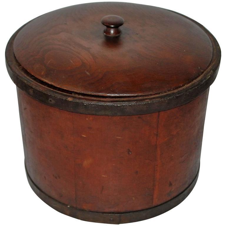 Unusual 19th Century Original Red Painted Storage Box