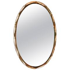 Italian 1960s Rose Gold Oval Mirror