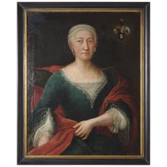 B94 18th Century Oil Portrait of a Lady in a Green Dress