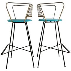 Pair Mid-Century Modern Wire and Brass Bar Stools