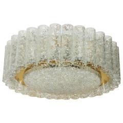 Mid-Century Glass Tube Flush Mount Chandelier by Doria Leuchten