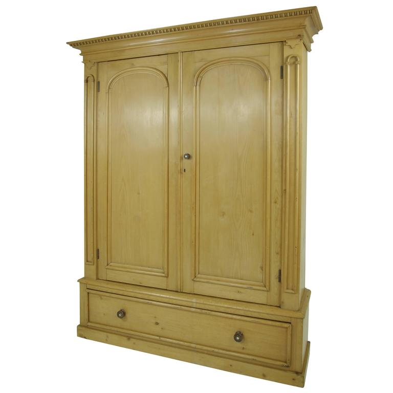 B281 Large Pine Two Door Armoire Wardrobe Display Pantry Cabinet Linen Closet At 1stdibs