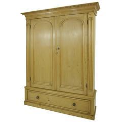 B281 Large Pine Two-Door Armoire, Wardrobe Display, Pantry Cabinet, Linen Closet