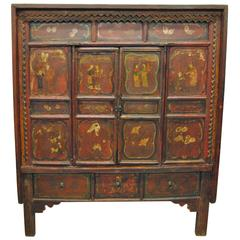 Antique Chinese Elmwood Armoire, Shanxi Province, Early 19th Century