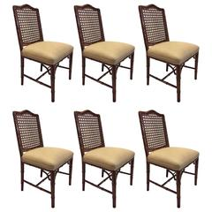 Chinese Chippendale Faux Bamboo Arm and Side Chairs, Six in Total