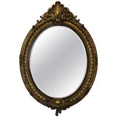 1950s Large Gold Leaf Italian Mirror