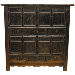 18th Century Chinese Black Elmwood Armoire, Shanxi Province