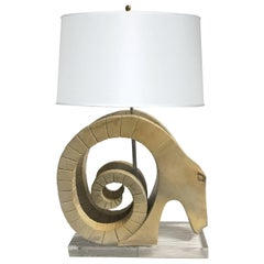 Custom Ram Table Lamp with Lucite Base