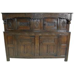 B320 Antique Scottish 18th Century Carved Oak Court Cupboard, Buffet, Dresser
