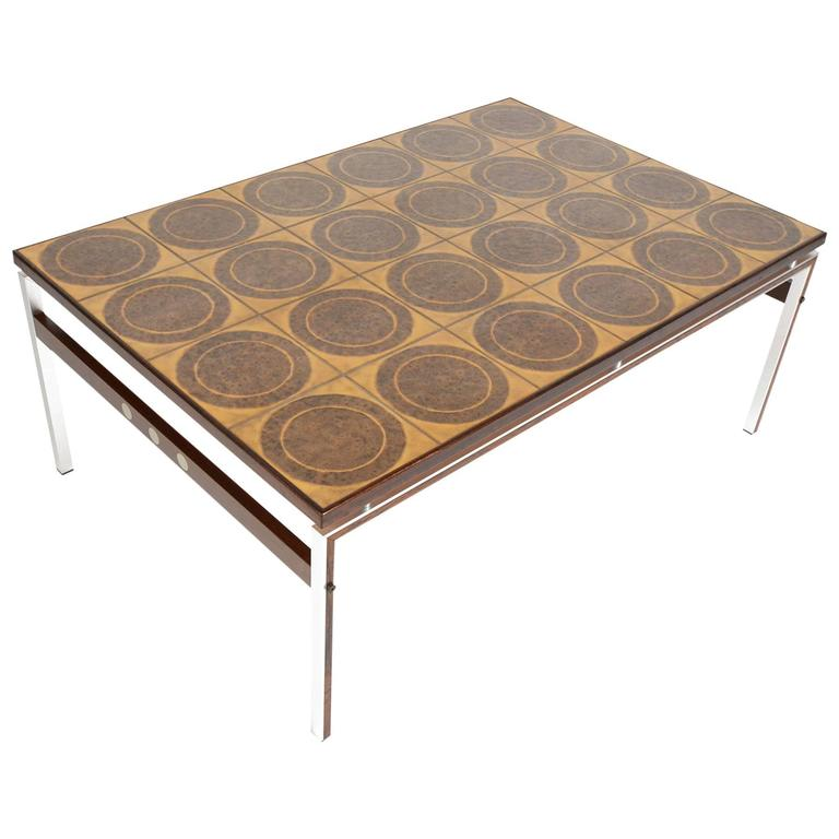 Danish Modern Ceramic Tile And Rosewood Coffee Table For Sale At 1stdibs
