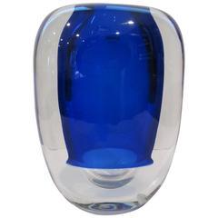Signed Alfredo Barbini Brilliant Blue Strati Rotondo Vase