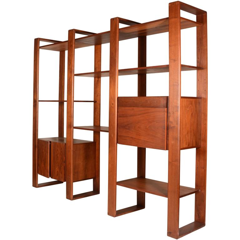 wall shelving units lou hodges walnut freestanding wall unit shelving system 28105