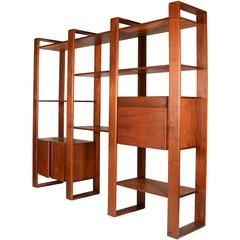 Lou Hodges Walnut Freestanding Wall Unit Shelving System