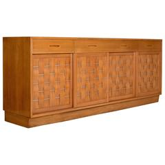Mahogany Basket Weave Credenza by Edward Wormley for Dunbar