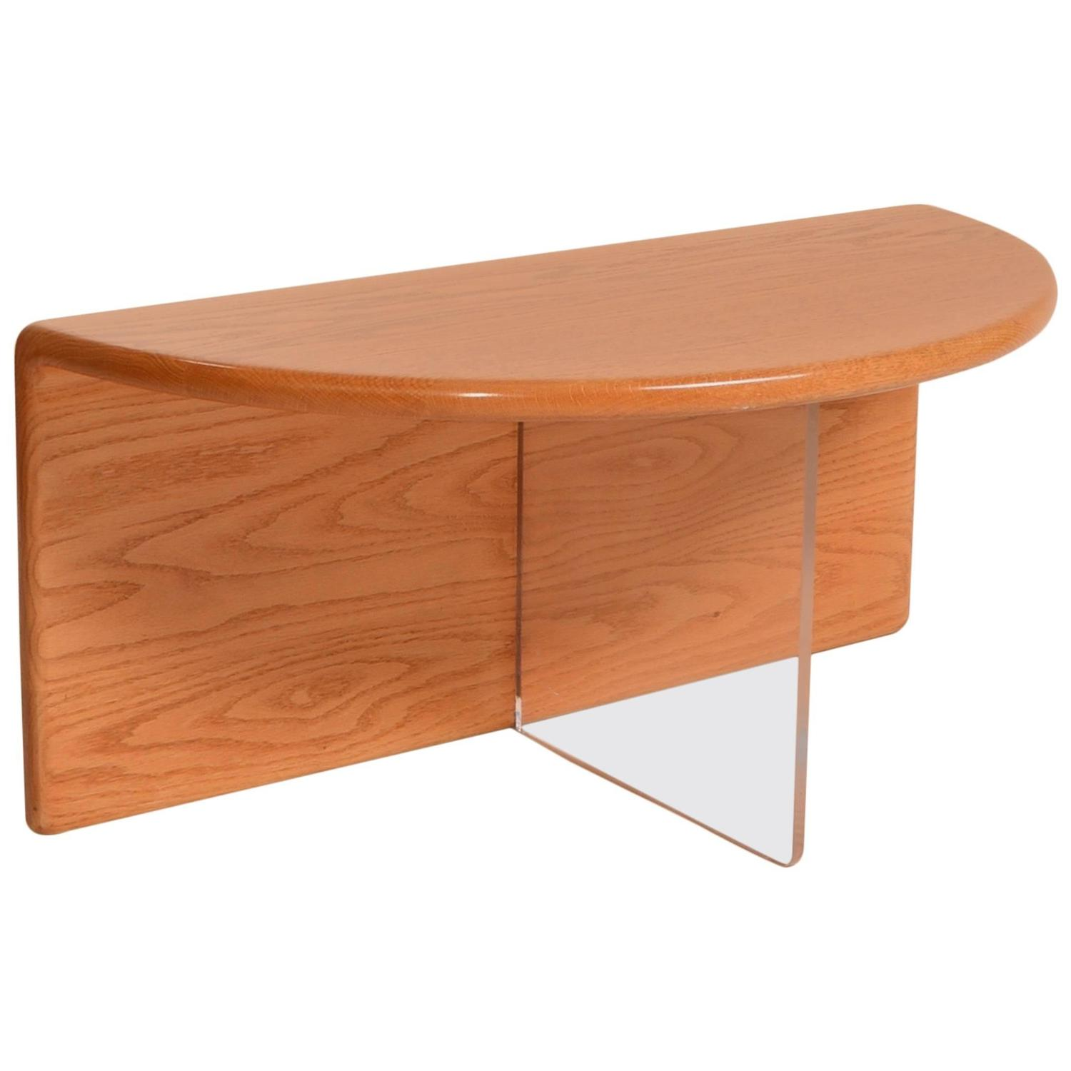 Gerald mccabe oak and lucite coffee table for sale at 1stdibs for Acrylic coffee tables for sale