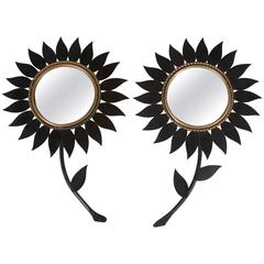 Pair of Black Metal Flower Mirrors by Chaty