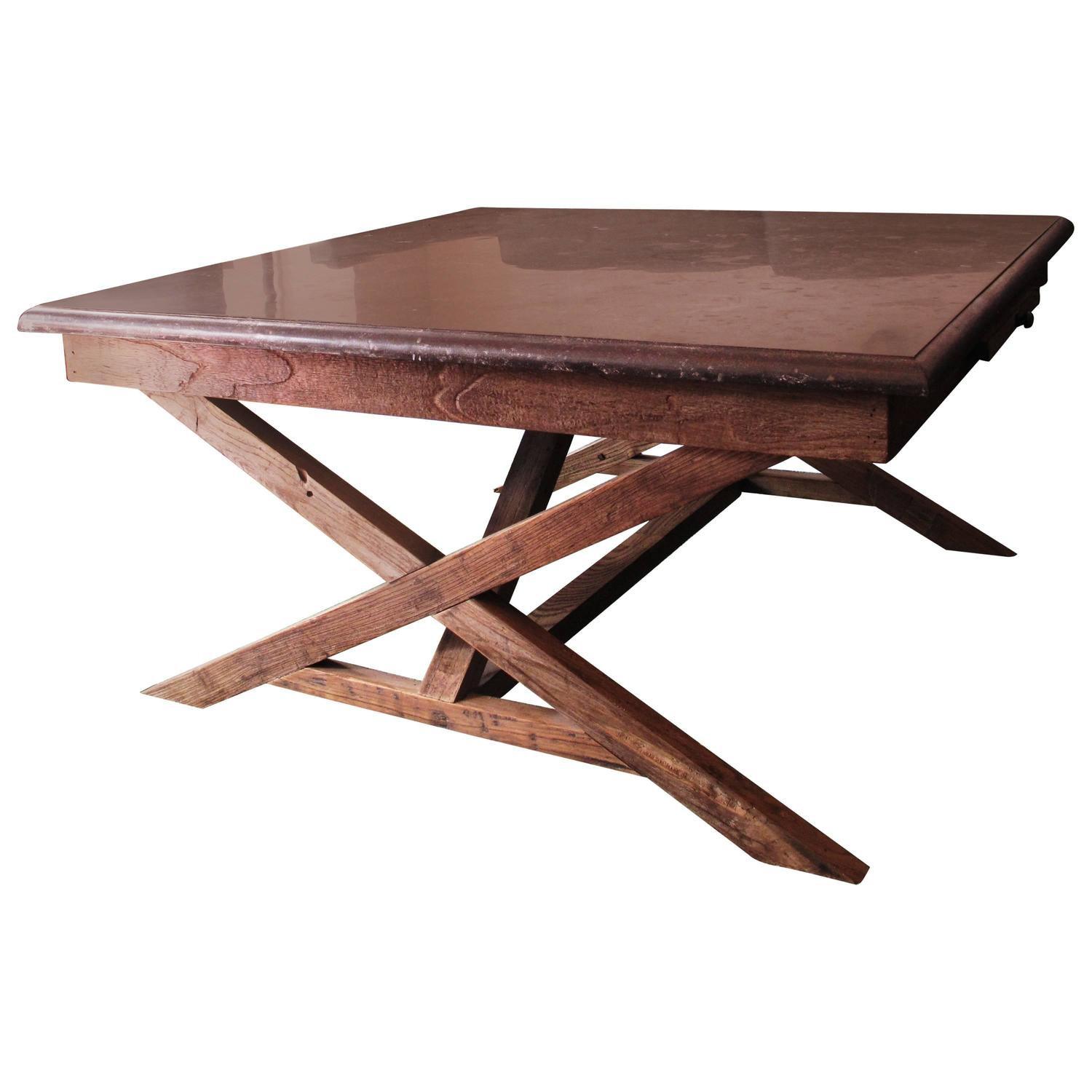 Reclaimed Wood Coffee Table With Bluestone Slab For Sale At 1stdibs