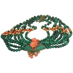 Extraordinary Eight Strand Malachite, Coral, 14-Karat Gold Collar Necklace
