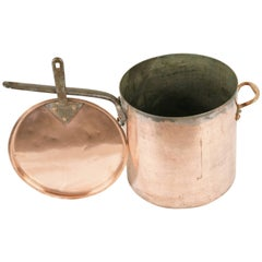 B209 Antique English Hard Hammered Copper Pot, James Bros, London
