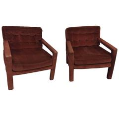Pair of Milo Baughman Chocolate Color Button Tufted Lounge Chair or Armchairs