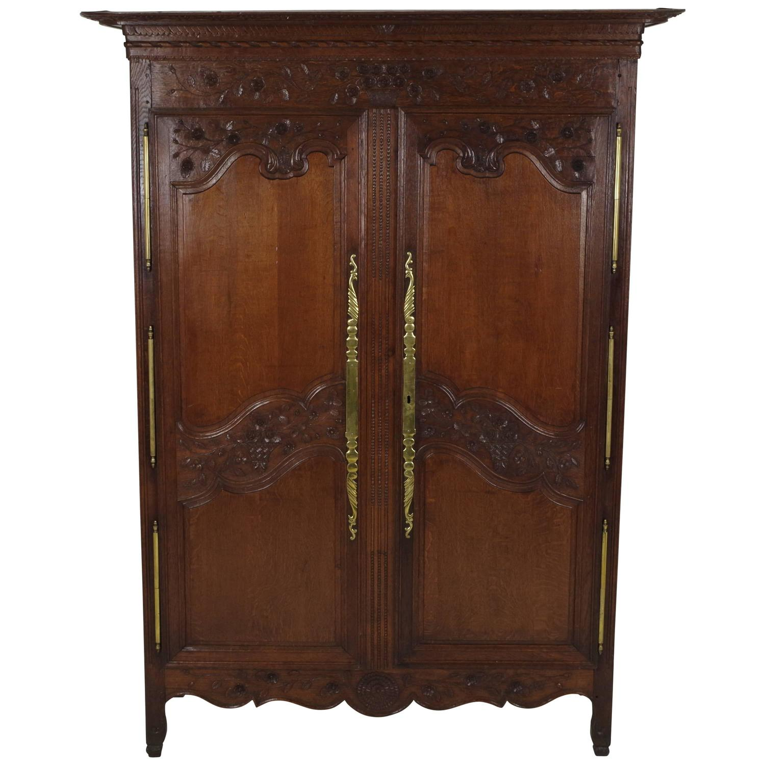 B238 antique french normandy marriage armoire wardrobe 1840 at 1stdibs - French style armoire wardrobe ...