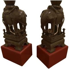 Pair of Chinese Pewter Elephant Lamps on Red Wooden Bases