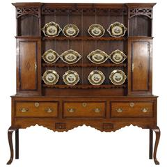 Antique Scottish Late 18th Century Oak Welsh Plate, Dresser, Sideboard Cabinet