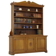Large Antique Victorian Solid Oak Open Bookcase, Display Cabinet, 1870