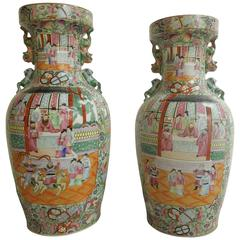 Pair of Large Stunning Designer Chinoiserie Family Dynasty Urns