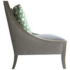 Hollywood Regency Modern Custom Made Herringbone Silver Slipper Chair