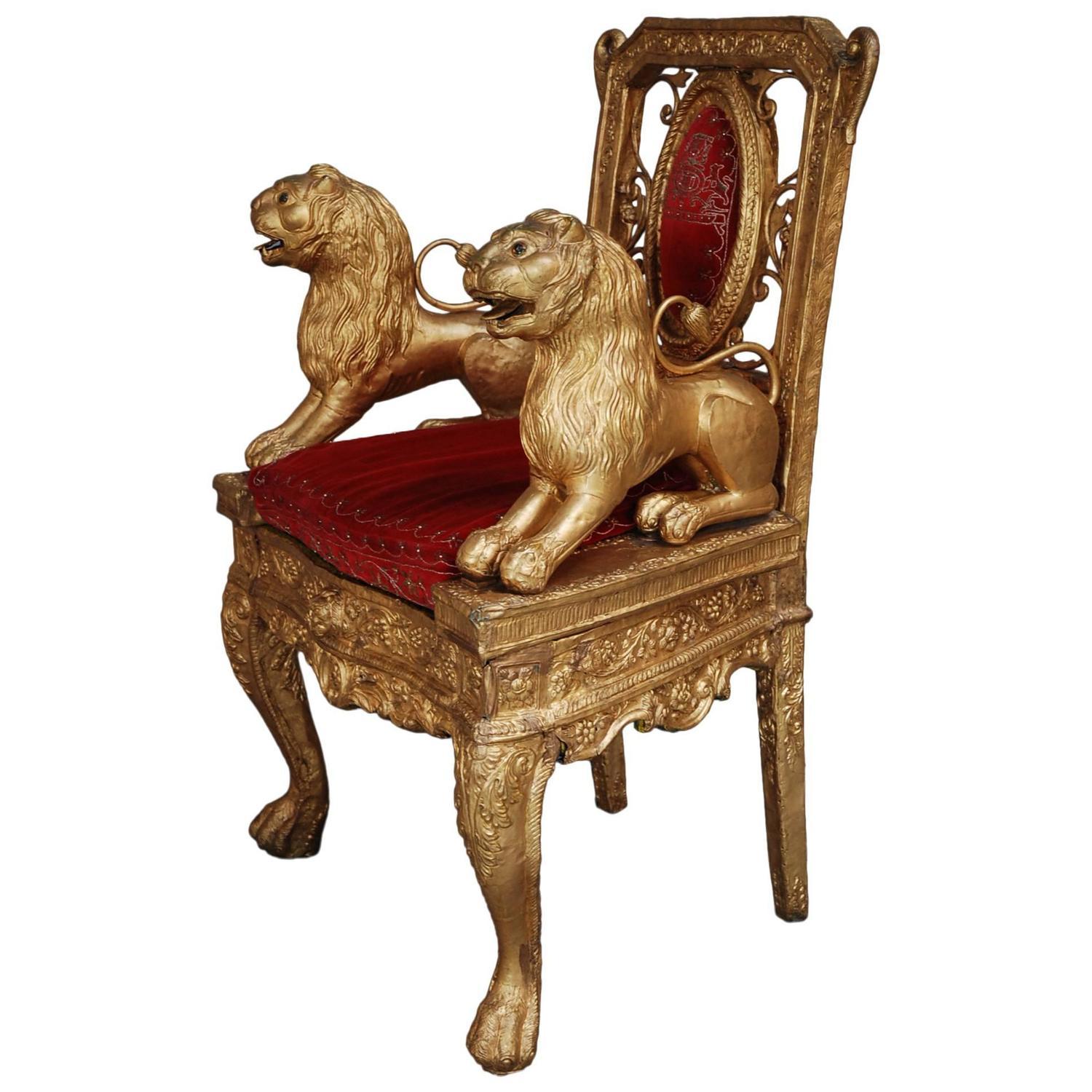 Mid Late 19th Century Indian Throne Chair with Gold Finish at 1stdibs