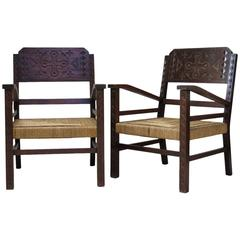 Pair of French Mid-Century Armchairs Carved with Geometric African Motifs