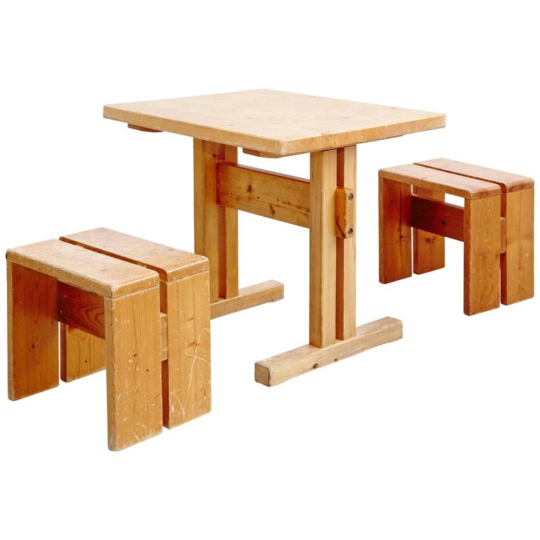 Charlotte Perriand Table and Stools for Les Arcs
