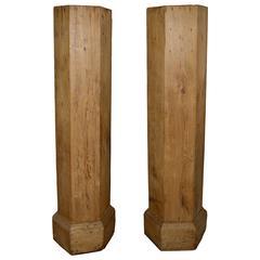 Pair of 19th Century Belgian Oak Column Pedestals