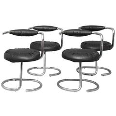 "1970s, Giotto Stoppino, Set of Four Black ""Cobra"" Chairs"