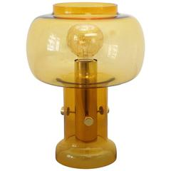 Translucent Table Lamp with Amber Glass attributed to Orrefors, Sweden, 1960s